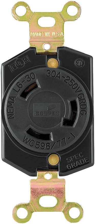 eaton l630r recpt single lock 30a 250v black electrical outlets rh amazon com