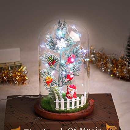 Festive 23cm LED Glass Cloche With Tree