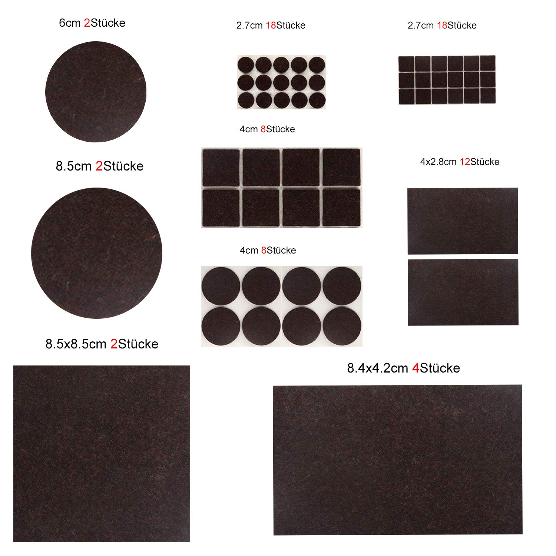 carr/é 2,7 cm Patins en feutre assortiment de tapis en feutre pour meubles haute qualit/é et longue dur/ée brun fonc/é chaises et tables