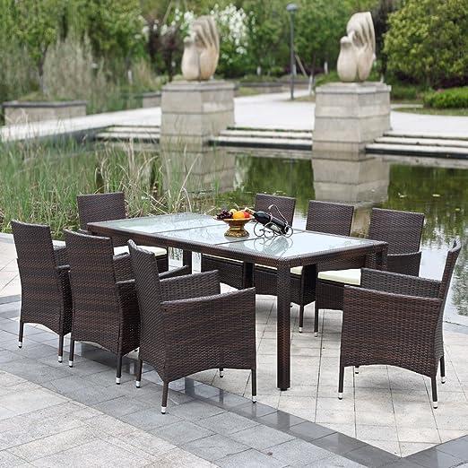 ikayaa 9pcs salón de jardín de resina ratán exterior Patio mesa de comedor mis conjunto de muebles de patio jardín coussinée: Amazon.es: Jardín