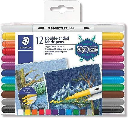 STAEDTLER Design Journey 3190 TB12. Rotuladores para textil de doble punta. Caja con 12 marcadores de colores variados.: Amazon.es: Oficina y papelería