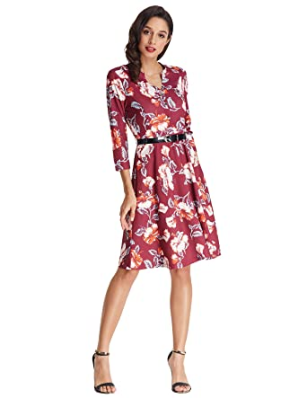 grace karin womens floral v neck midi swing dresses with belt size s wine red - Christmas Party Dresses