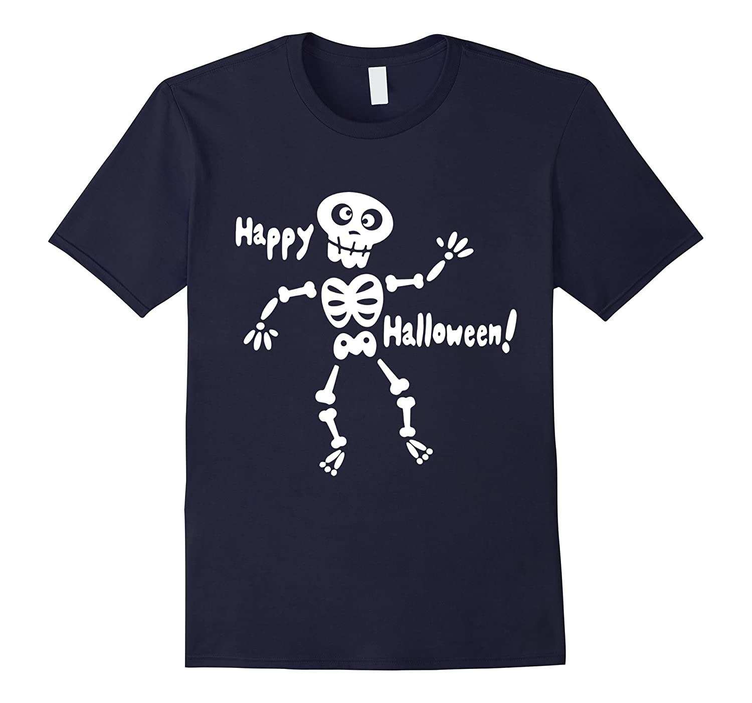 Glow In The Dark Skeleton Happy Halloween C2 T-shirt-FL
