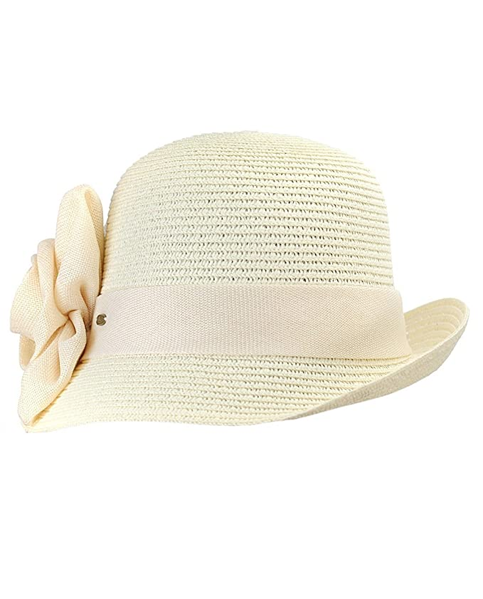 1930s Style Hats | 30s Ladies Hats Paper Woven Cloche Hat with Flower Band $14.99 AT vintagedancer.com