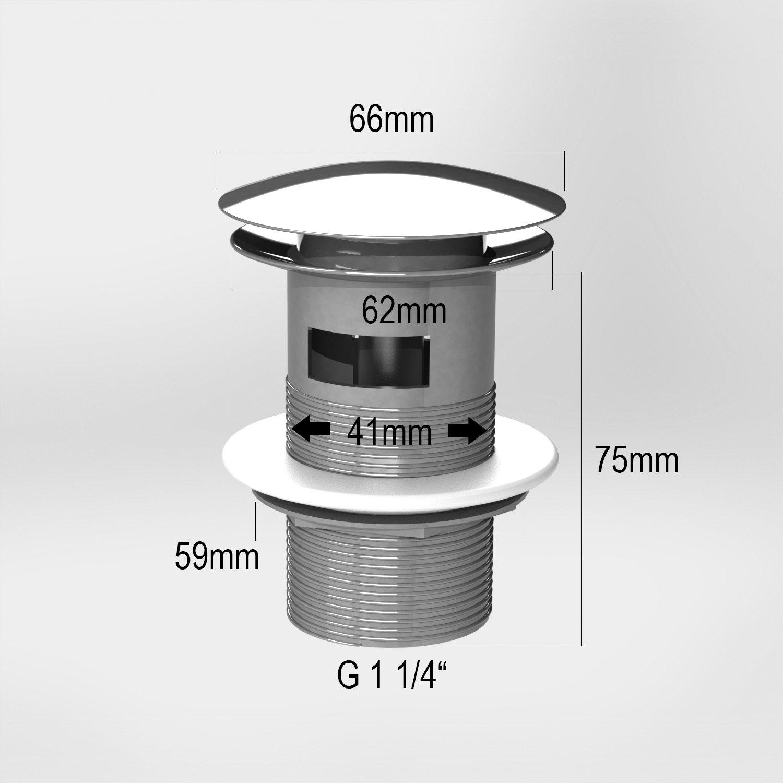 V/álvula de desag/üe con rebosadero /v/álvula de vaciado para desag/üe color cromado ATCO/® PU17 sistema de pulsaci/ón/