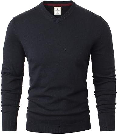 Gents Merino Wool Sweater V-Neck Jumper Navy Blue Medium