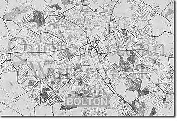 Tpck B W Bolton England Uk Artistic Modern Map Original