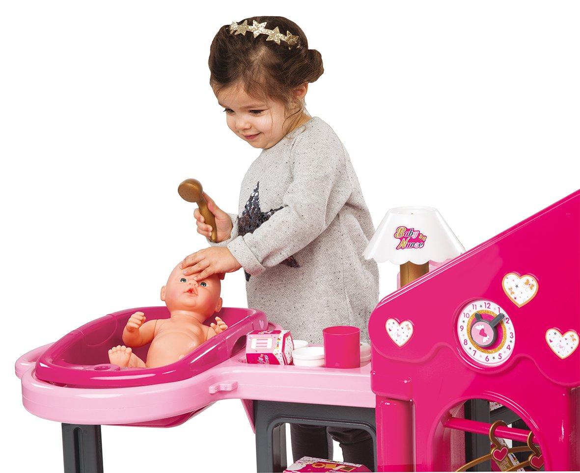 Smoby Maison des B/éb/és + 13 Accessoires Inclus Baby Nurse 220318 Transportable et Pliable 3 Espaces de Jeu