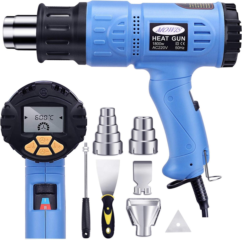 Pistola de Aire Caliente MOWIS 1800w con Pantalla LED, Temperatura Ajustable 50℃-600℃, Flujo Ajustable 190-500L/M, Memoria de Temperaturas 8 Accesorios Azul