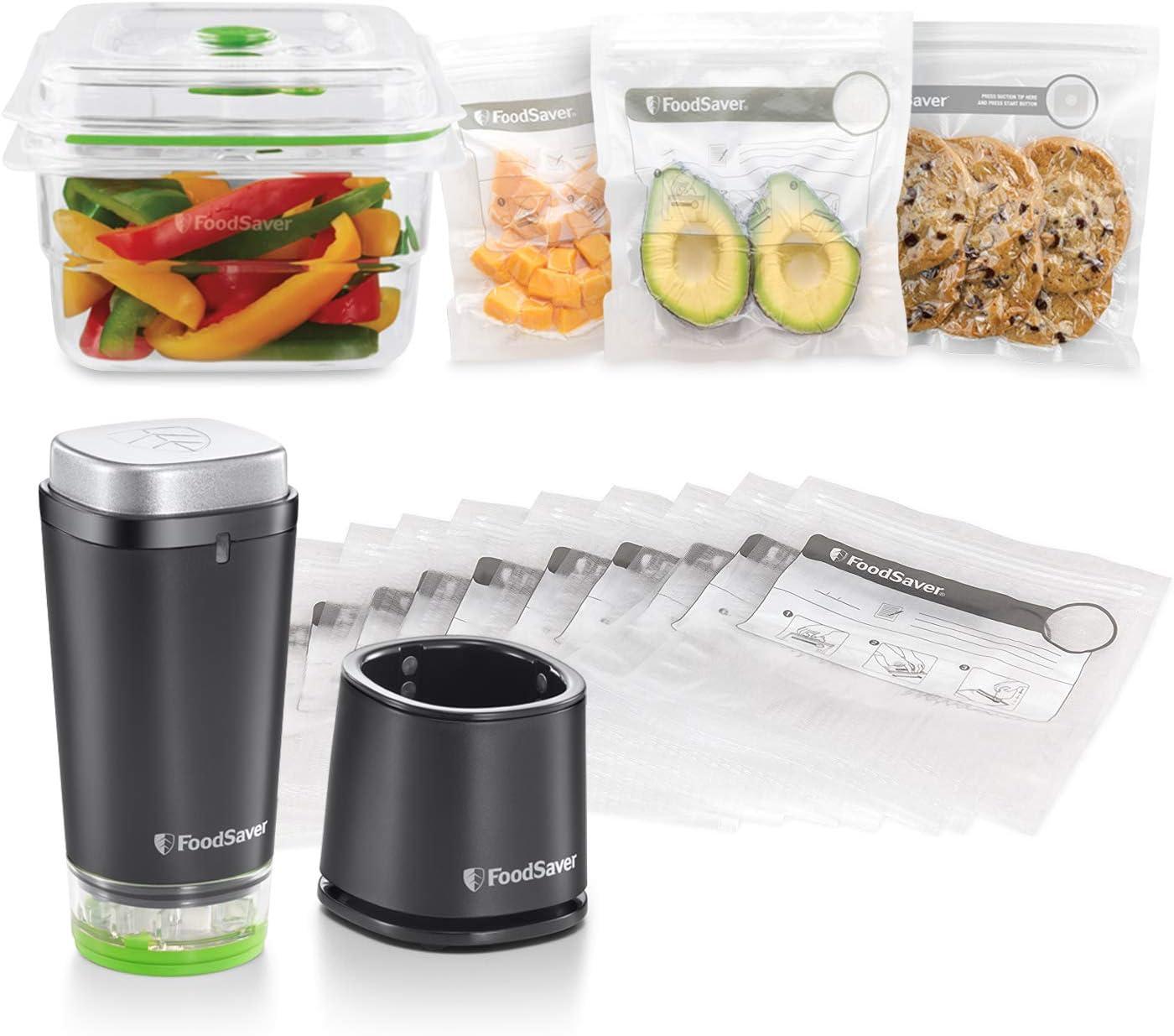 FoodSaver FVB015X Bolsas para envasador al vacío con cierre tipo zip, 0.95 litros + FoodSaver VS1192X Envasadora al vacío de alimentos inalámbrica y portátil con base de carga