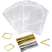 400 Clear Treat Bags and 400 Twist Ties 6 in x 9 in Thick OPP Plastic Bags for Cookie Cake Pops Gift Candy Buffet Supplies