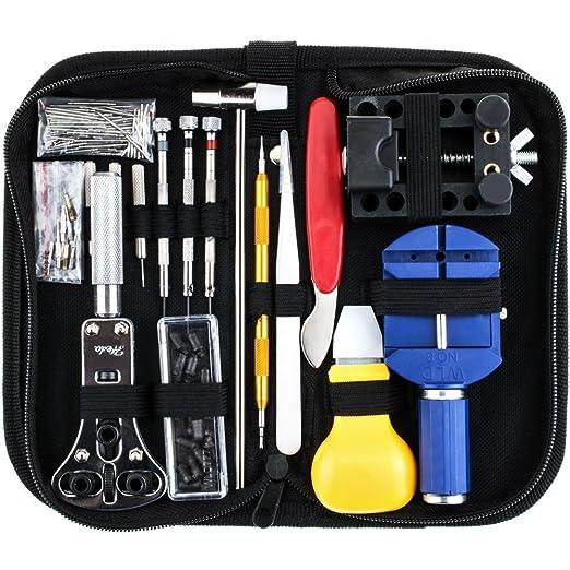 SODIAL 147pzs kit de reparacion de reloj Juego de herramientas barra de resorte profesional, Juego de herramienta pin de enlace de banda de reloj con ...