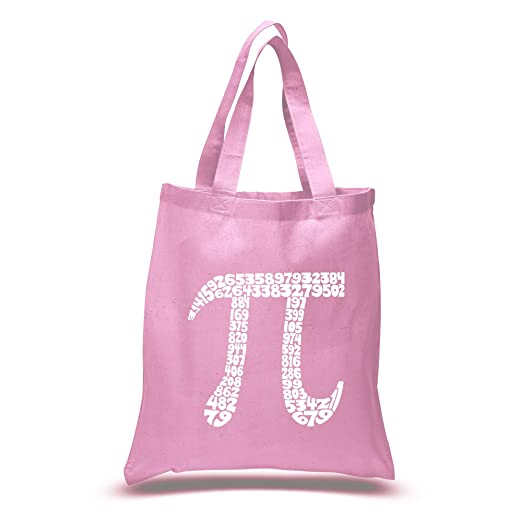 91b9fe08c1 Amazon.com  Small Pink PI Word Art Tote Bag - Created using the first 100  digits of PI  Clothing