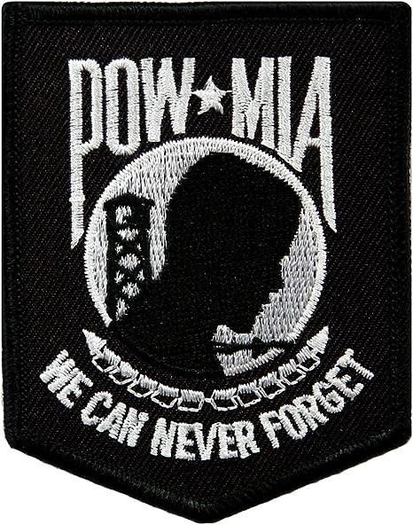 POW-MIA EMBROIDERED PATCH iron-on VIETNAM WAR BLACK military prisoner emblem