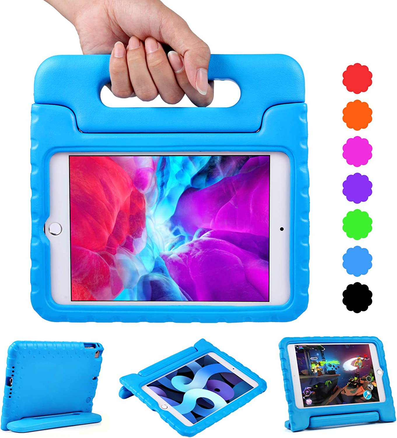 EVA Tablet Case for iPad Mini 4 / Mini 5 with Handle   Blosomeet Full Body Protective Kid-Proof Cover for iPad Mini 5th/4th Generation with 2-Angle Stand   Rugged & Lightweight Case for Boys   Blue