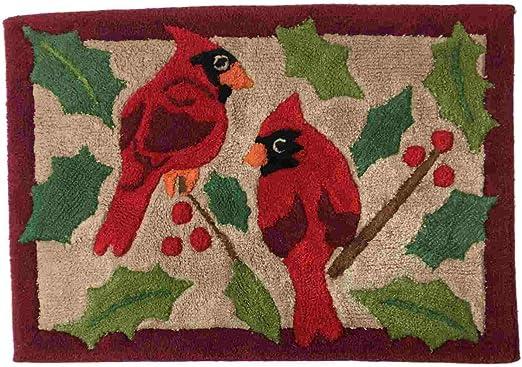 St Nicholas Square Cardinal Kitchen Towel Red Cardinal Bird  2 Sets of 2 Packs