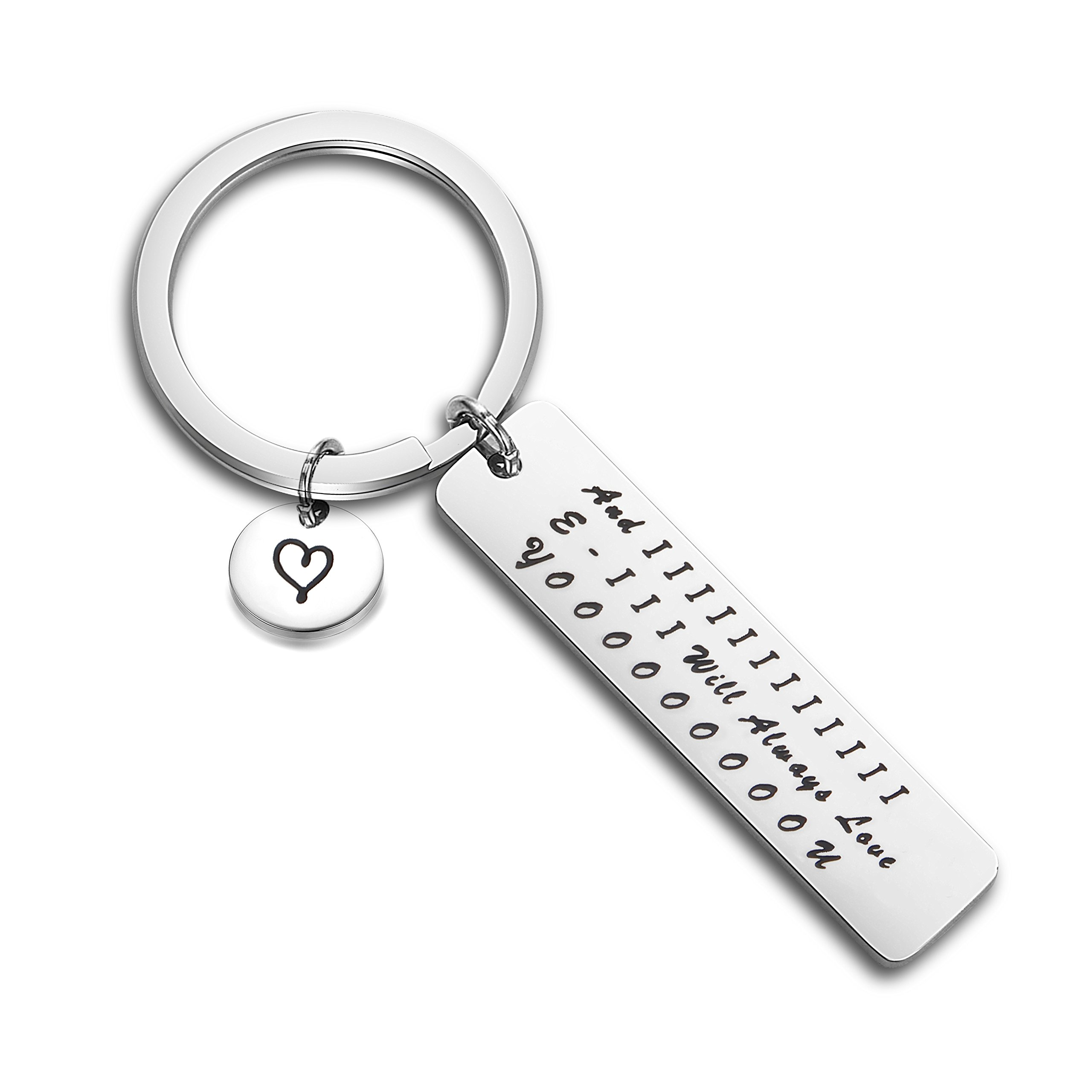 QIIER And I Will Always Love You Keychain Long Distance Relationship Gift for Her(Silver)