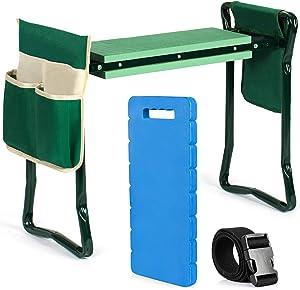 COSYLAND Garden Kneeler and Seat Foldable Soft Gardening Stool with Bonus EVA Kneeling Pad, 2 Pouches, Detachable Belt, Kneeler for Gardening Foldable Portable