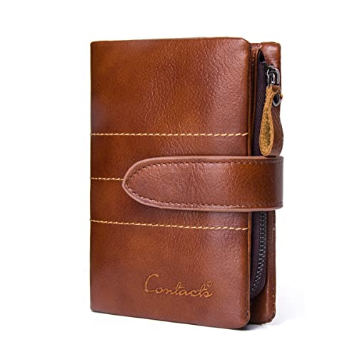 bc65509f0efd Image Unavailable. Image not available for. Color: Contacts Mens Genuine  Leather Card Coin Purse Bifold Trifold Wallet Brown
