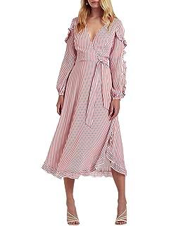 319712d5a7c Miessial Women s V-Neck Striped Flounce Dress Long Sleeves Ruffled Dress  Bow Waist