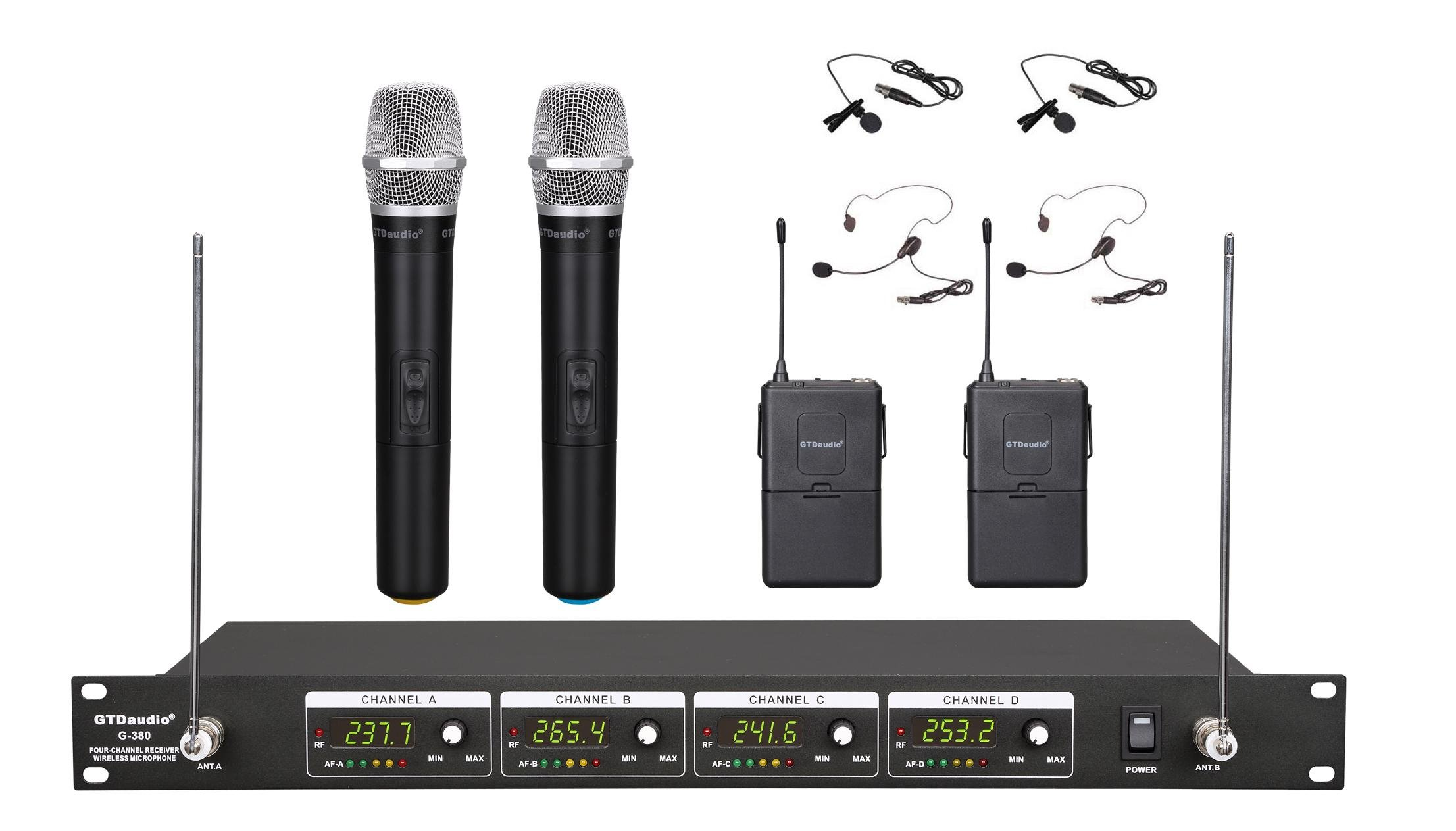 gtd audio g 380hl vhf wireless microphone system with 2 handheld 2 headset 700371825201 ebay. Black Bedroom Furniture Sets. Home Design Ideas