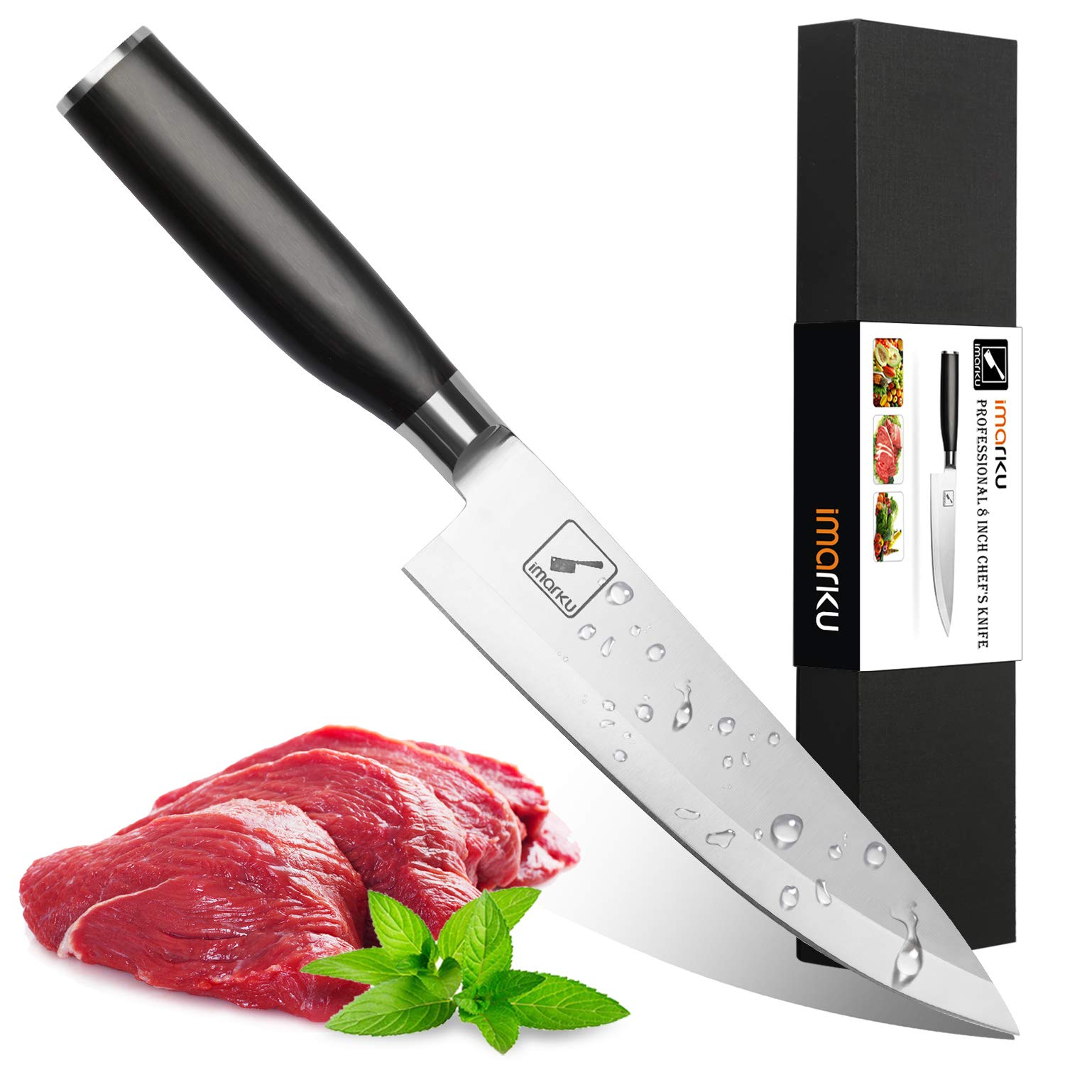 Imarku 8 Inch Pro Chef's Knife,German High Carbon Stainless Steel Kitchen Knife with Sharp Single Bevel Blade and Ergonomic Handle
