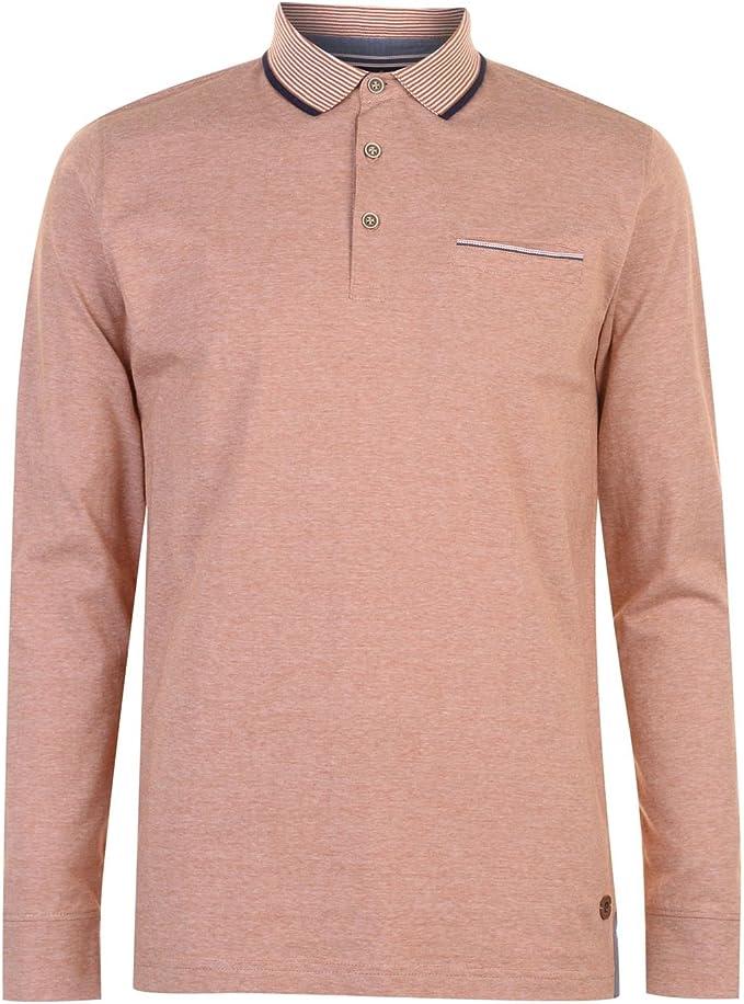 Pierre Cardin Hombre Yarn Dye Camisa Polo Manga Larga Sky/Blanco S ...