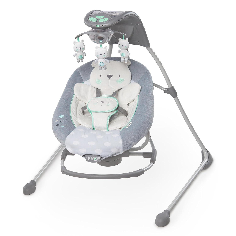 Ingenuity InLighten Cradling Swing and Rocker, Twinkle Twinkle Teddy Bear, Grey, White, Green Kids II 10088-1