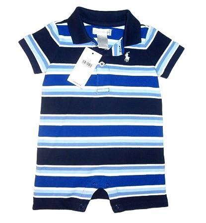 New Genuine Ralph Lauren bebé niños SHORTALL de rayas Babygrow Pelele – 16001 azul Multi azul