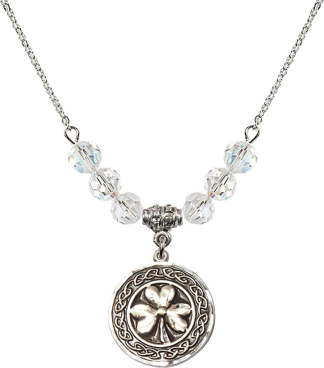 18-Inch Rhodium Plated Necklace with 4mm Amethyst Birthstone Beads and Sterling Silver 5-Way Chalice Charm.