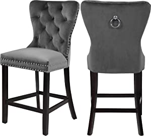 "Meridian Furniture Nikki Collection Modern | Contemporary Velvet Upholstered Counter Stool with Wood Legs, Button Tufting, and Chrome Nailhead Trim, Set of 2, Grey, 21"" W x 24.5"" D x 43"" H"