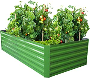 Galvanized Steel Raised Garden Bed Kit Extra Height Elevated Planter Box Steel Large Vegetable Flower Bed Kit (3.3 x 6.6 x 1.6 Ft, Green)