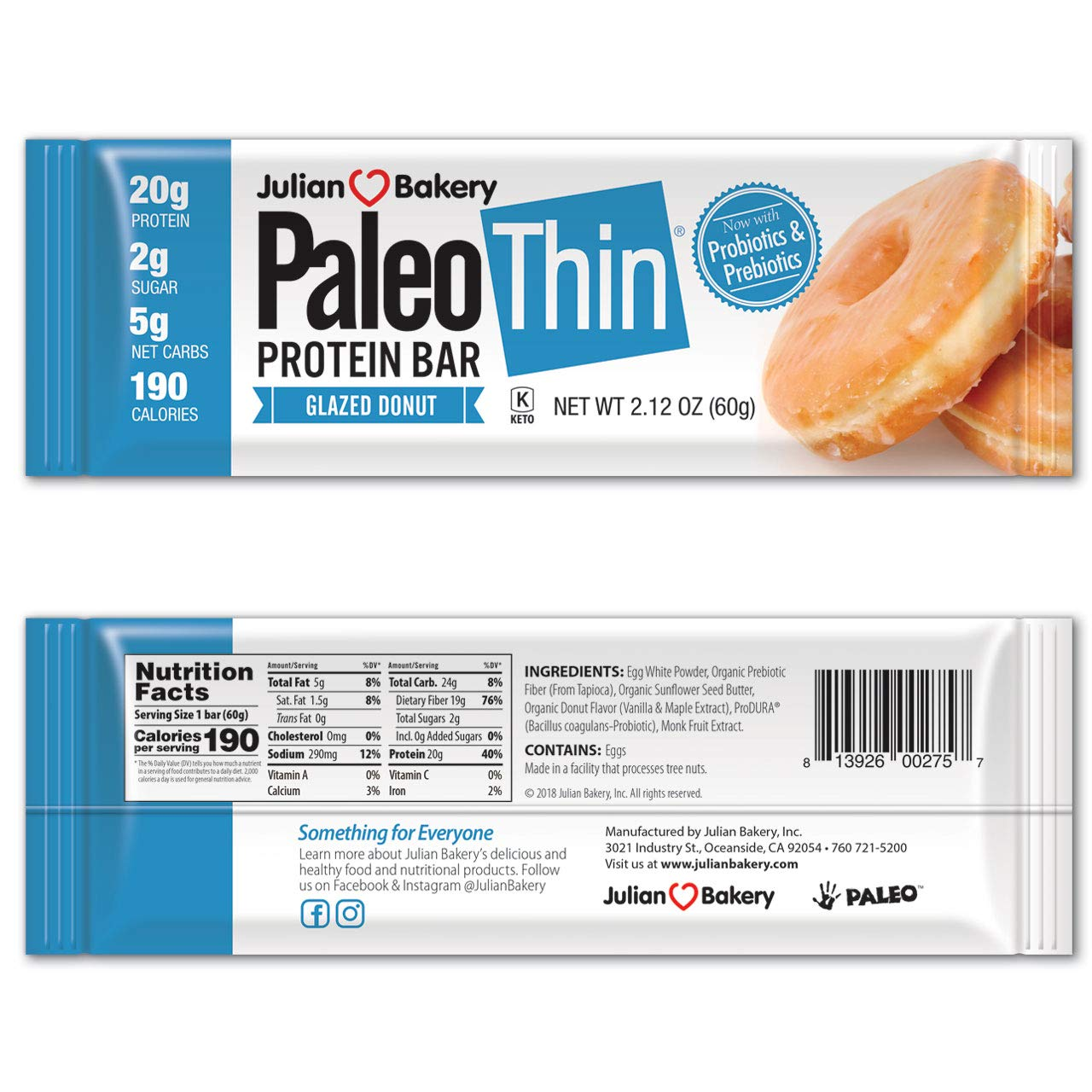 Paleo Thin Protein Bar 20g Egg White Protein , Glazed Donut, Gluten-Free, 190 Calories, 1 Count by Julian Bakery
