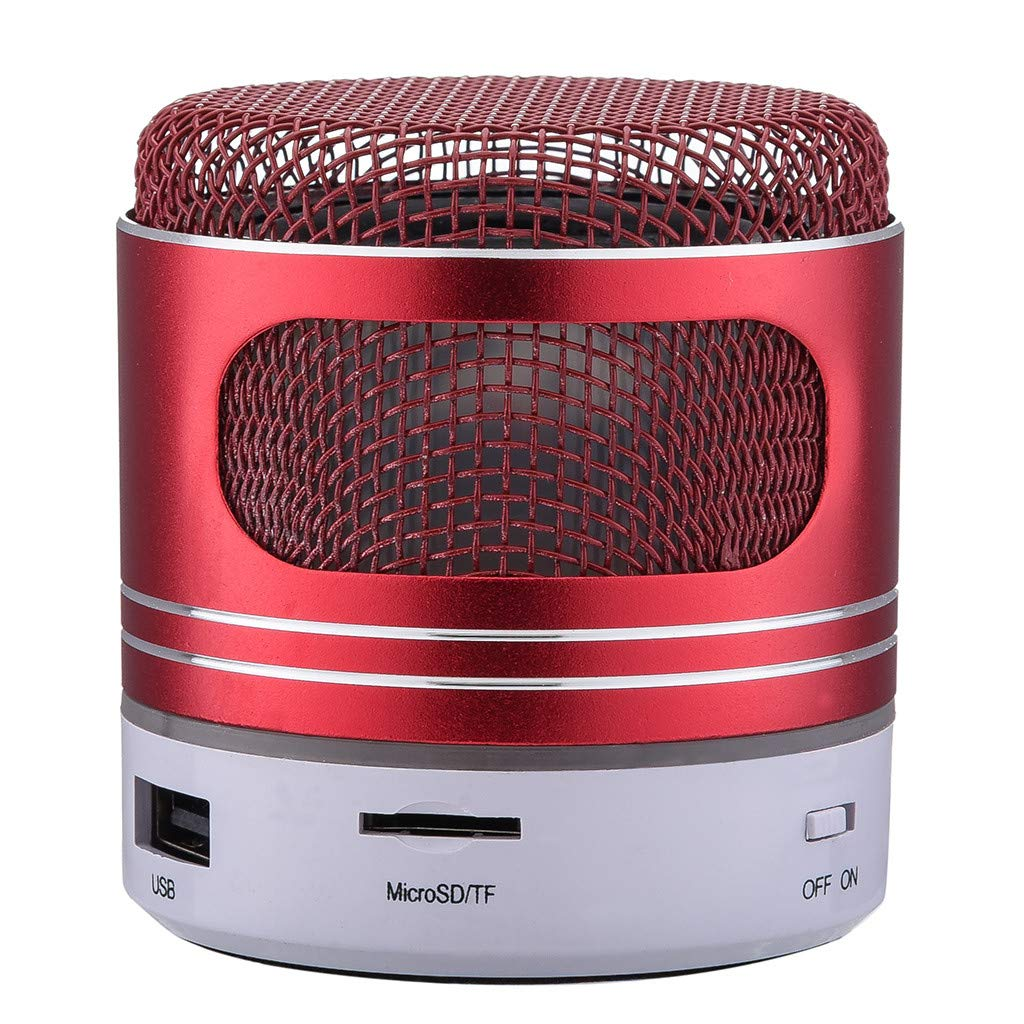 Mamun Mini Altavoz Bluetooth Mini Altavoz Bluetooth USB Led Light Inalámbrico Portátil de Música Caja Subwoofer Pequeño (Plata)
