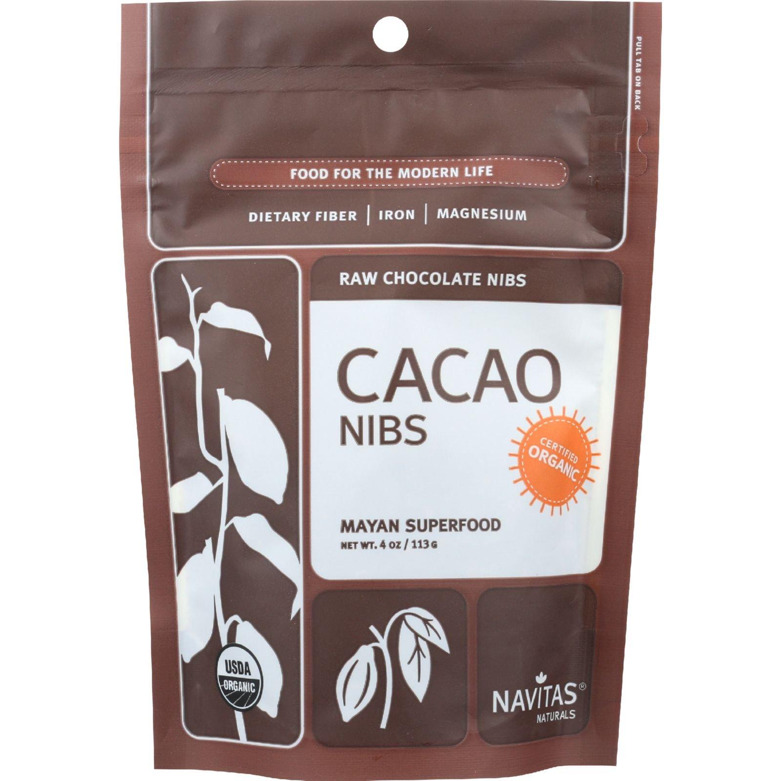 Navitas Naturals Cacao Nibs - Organic - Raw - 4 oz - case of 12 - 100% Organic - Gluten Free - Yeast Free - Wheat Free-Vegan