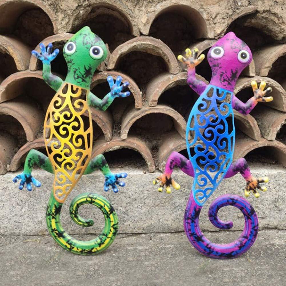 QOONESTL Set of 2 Metal Gecko Outdoor Wall Decor Lizard Art Hanging for Outdoor Backyard Porch Home Patio Lawn Fence Decorations Wall Sculptures