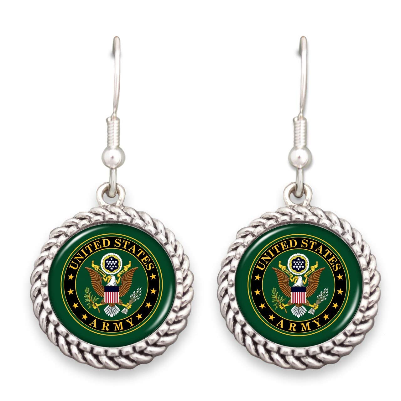 FTH US Army Twisted Rope Circle Logo Earrings