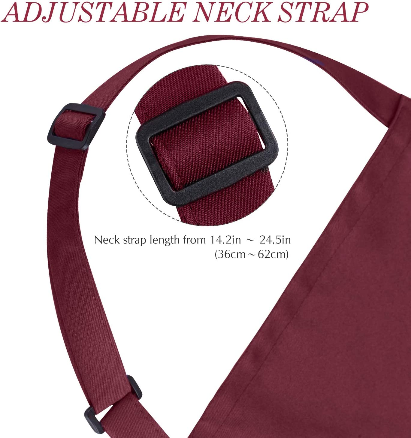 Syntus 2 Pack Adjustable Bib Apron Waterdrop Resistant with 2 Pockets Cooking Kitchen Aprons for Women Men Chef Dark Red