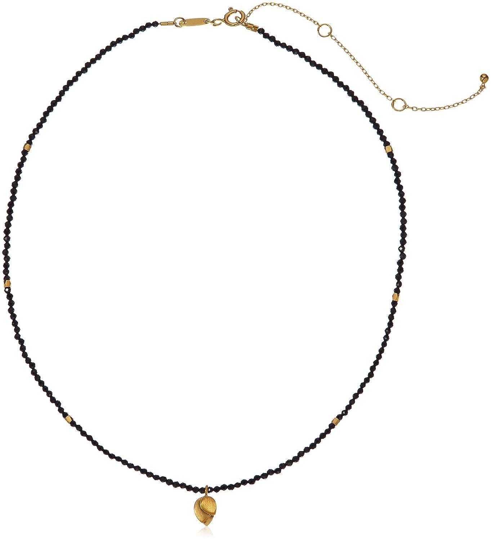 c9f7dad5aa9841 Amazon.com: Satya Jewelry Black Onyx Gold Plated Lotus Choker Necklace, 14