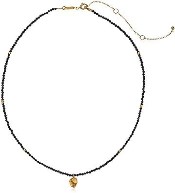 "0ac02c0c64e10b Satya Jewelry Black Onyx Gold Plated Lotus Choker Necklace, 14"" +  3.5"" Extender"