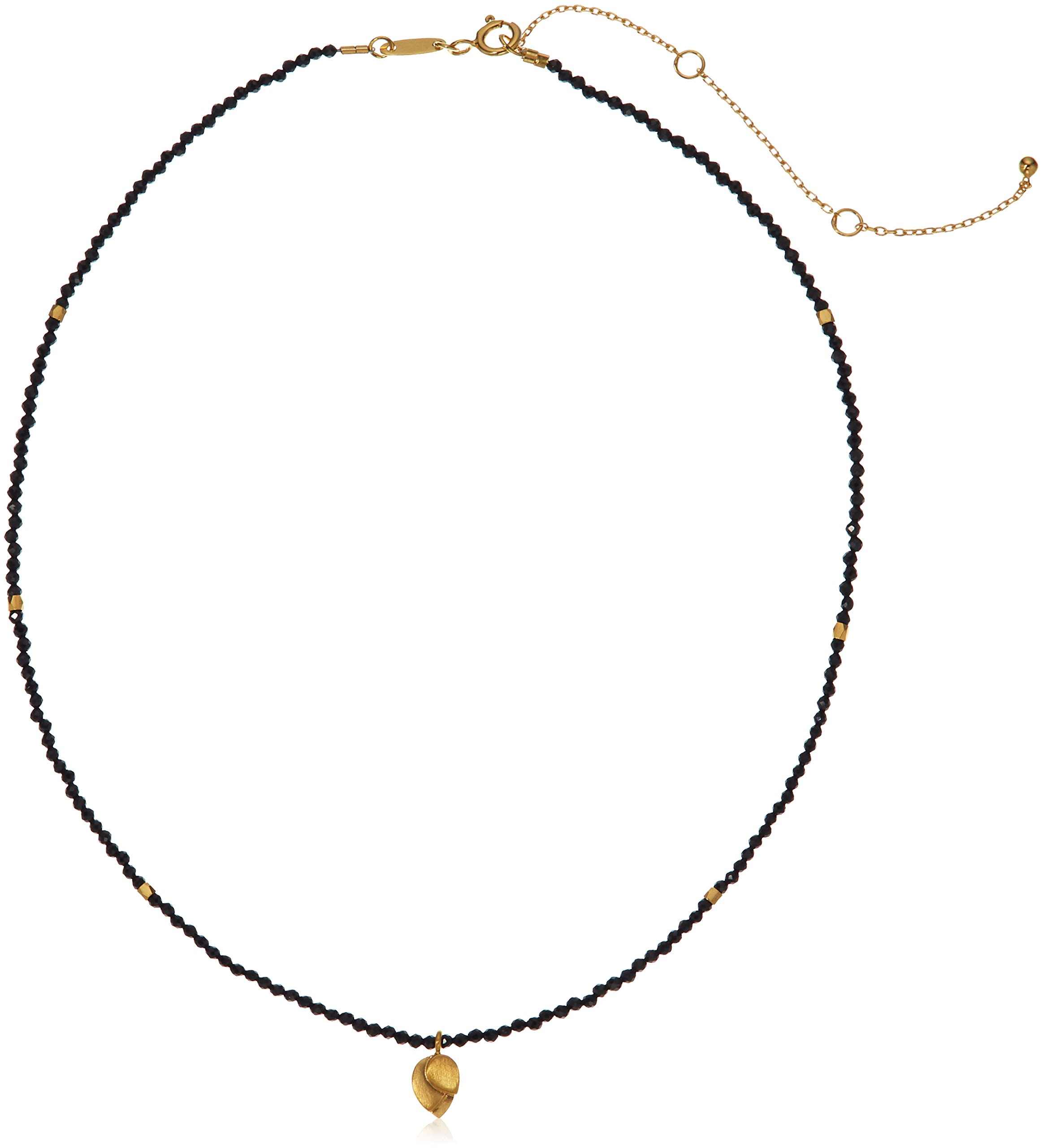 Satya Jewelry Black Onyx Gold Plated Lotus Choker Necklace, 14'' + 3.5'' Extender