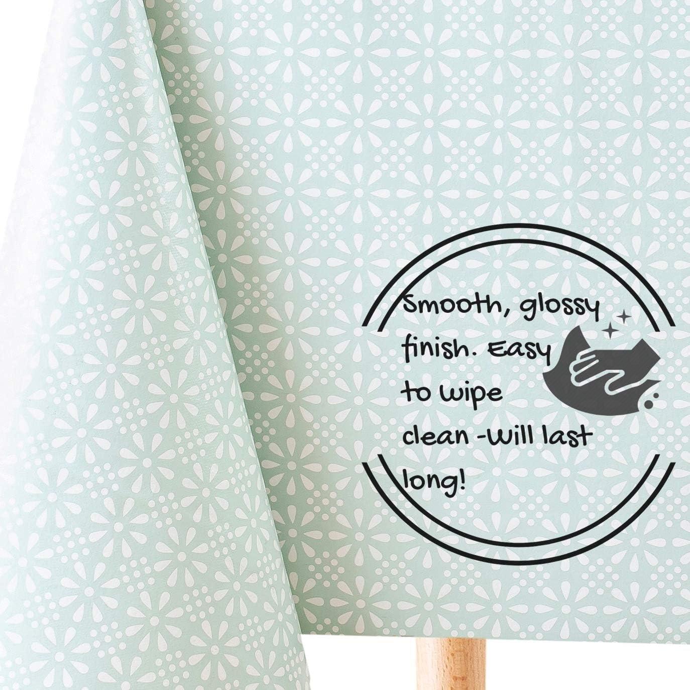 Motif floral bleu patchwork nappe nettoyage facile 140CM large