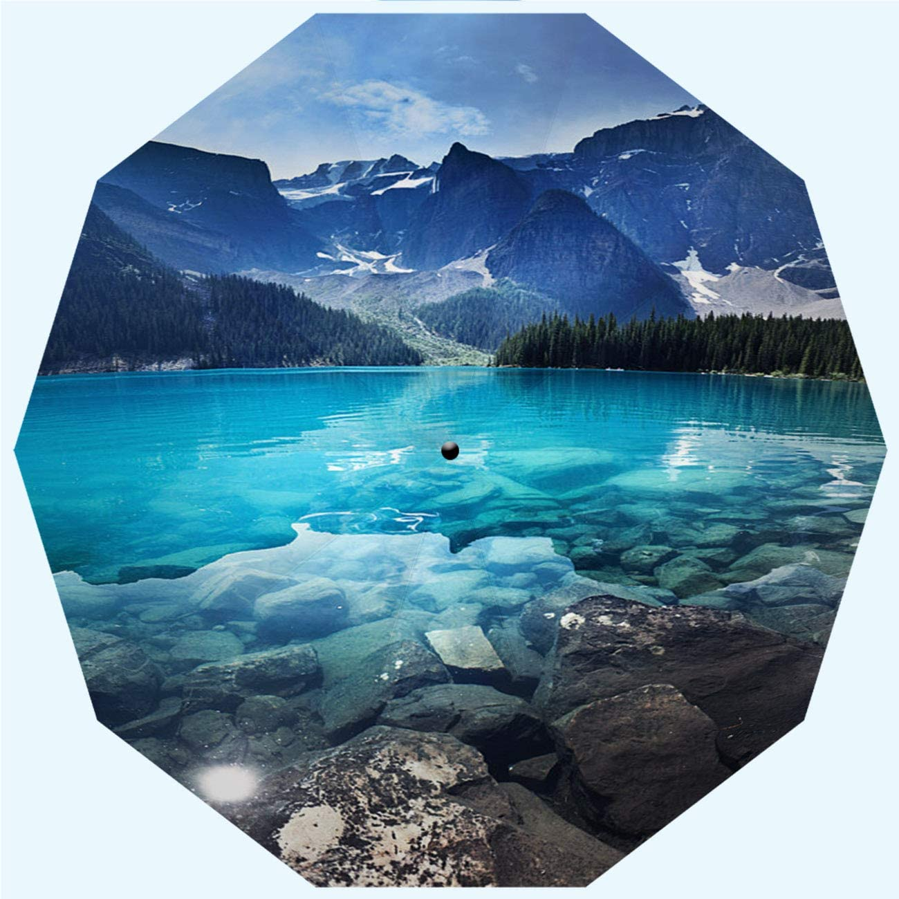Automatic Opening and Closing Lake Moraine Banff National Park Emerald Water Landscape Alberta Windproof Rainproof RLDSESS Landscape Rainproof Patio Umbrella Men 10 Ribs Ladies 42 Inches