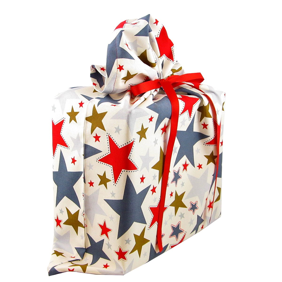 Stars II Reusable Fabric Gift Bag for Birthday, Graduation, or Any Occasion (Large 20 Inches Wide by 27 Inches High) by VZWraps (Image #2)