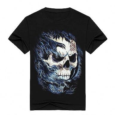 Emlyn Adrian 3D Print Skull Printing Cotton Fashion T-Shirt Mens Print Camisetas Summer Short