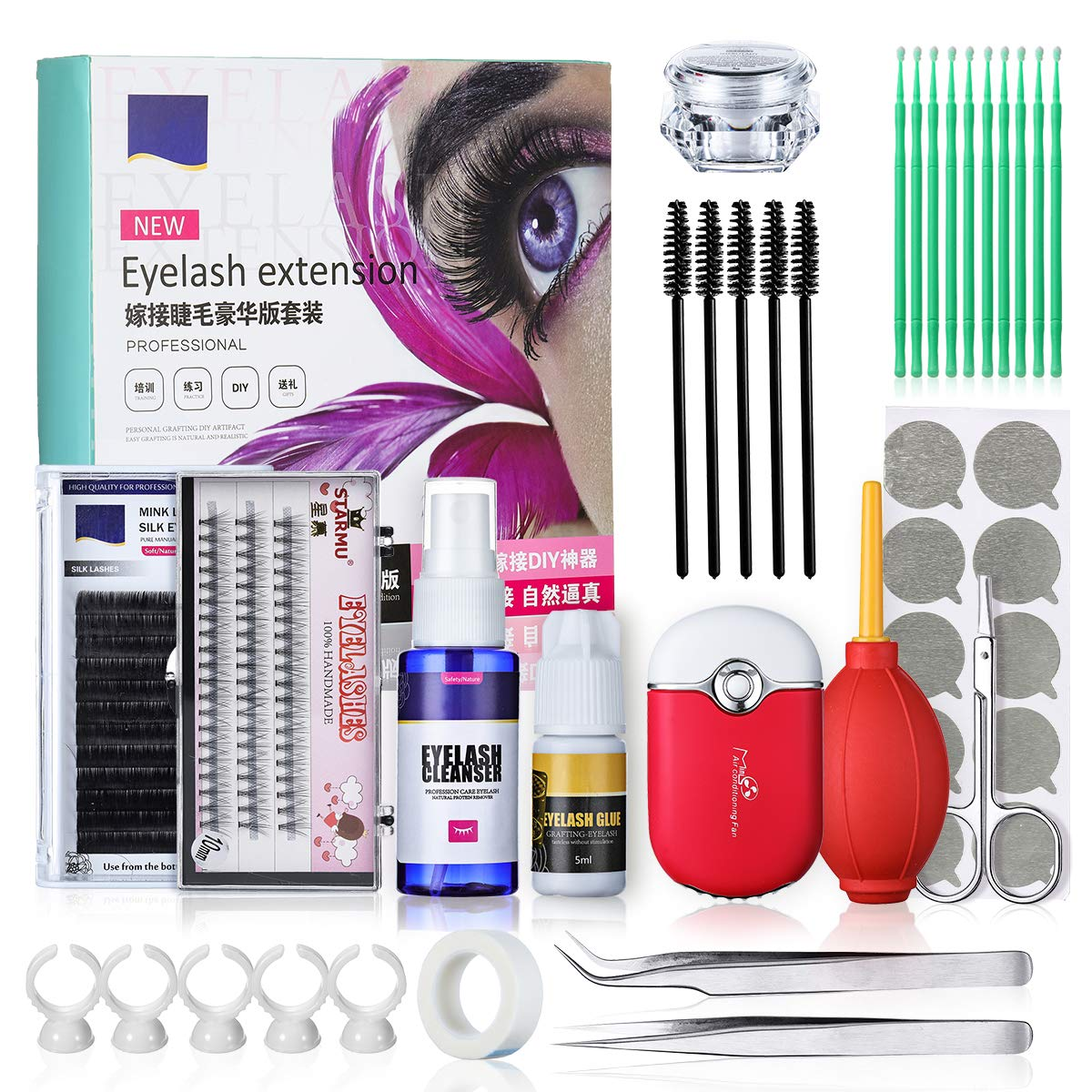 Eyelash Extension Kits, Luckyfine Training MakeUp False Eyelashes Extension Glue Tool Practice Kit for Makeup Practice Eye Lashes Graft with Air Puffer Blower