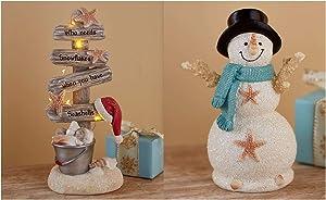 LTD Coastal Holiday Decor Collection Snowman Figurine & Lighted Christmas Tree Set Seaside Beach Idea