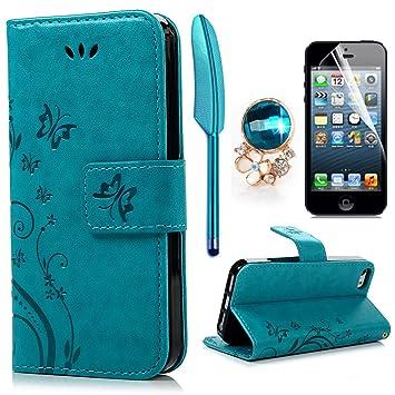 iPhone 5 5S SE Wallet Case iPhone 5 5S SE Flip Hülle YOKIRIN Schmetterling Blumen Muster Handyhülle Schutzhülle PU Leder Case