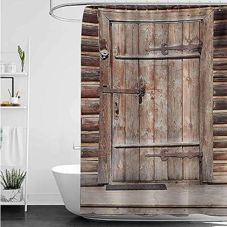 AndyTours Cortinas de Madera rústica para mamparas de Ducha, Puerta rústica en la Pared de una casa de Troncos Antigua, Puerta de Entrada de Edificio, diseño de Moda, Color marrón: Amazon.es: Hogar