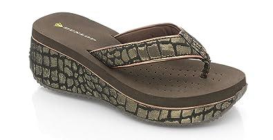 787bb405e2df37 Ladies Dunlop Low Wedge Multi Platform Summer Slip On Toe Post FlipFlops  Sandals Shoes Size 3